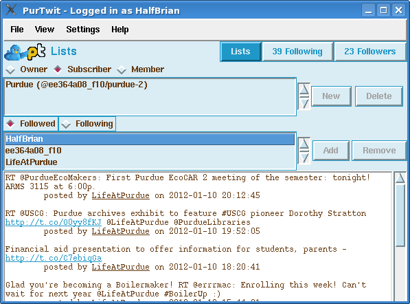 PurTwit - Twitter List Interface